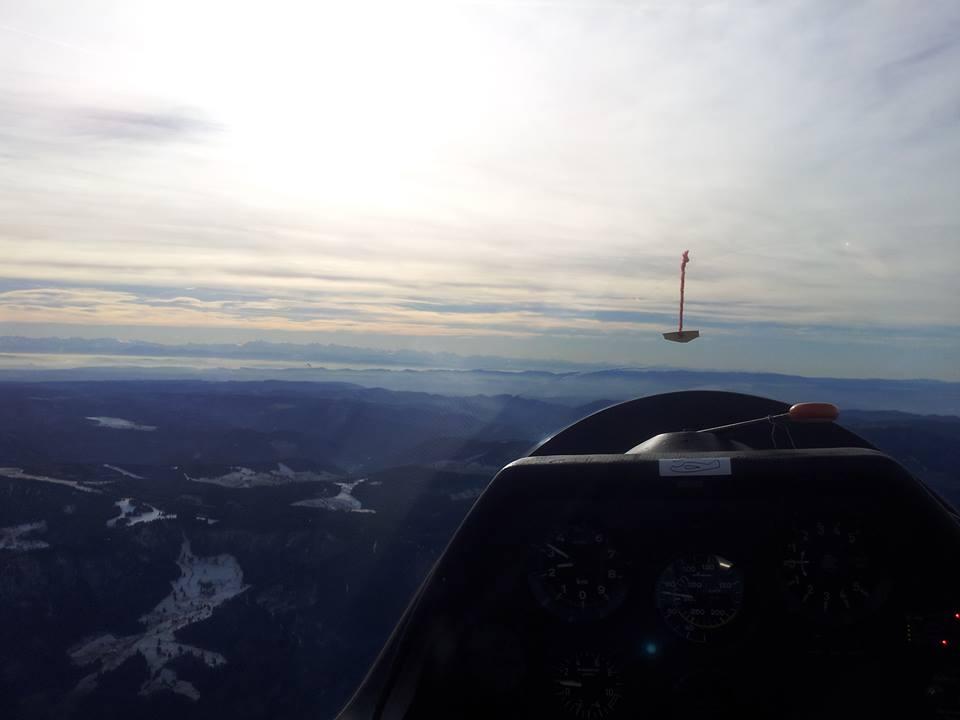 Blick aus dem Segelflugzeug