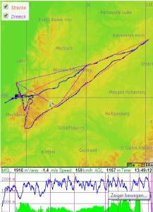 GPS-Track des Streckenfluges